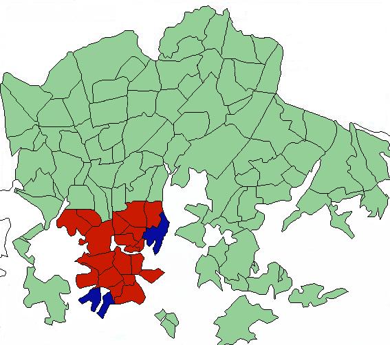 uudet asuinalueet (sininen), nykyiset vertailukelpoiset asuinalueet (punainen)